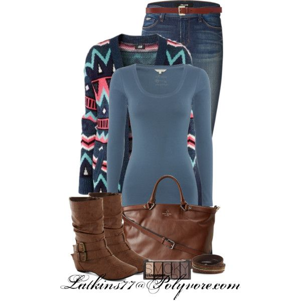 Colorfull Cardigan, Blue Jeans, Blue Long Tee, Brown Leather Handbag and Boots