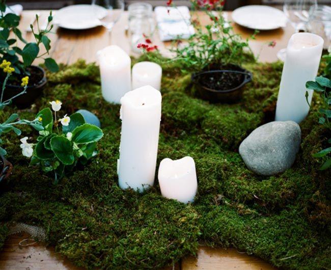 Moss centerpieces wedding pinterest