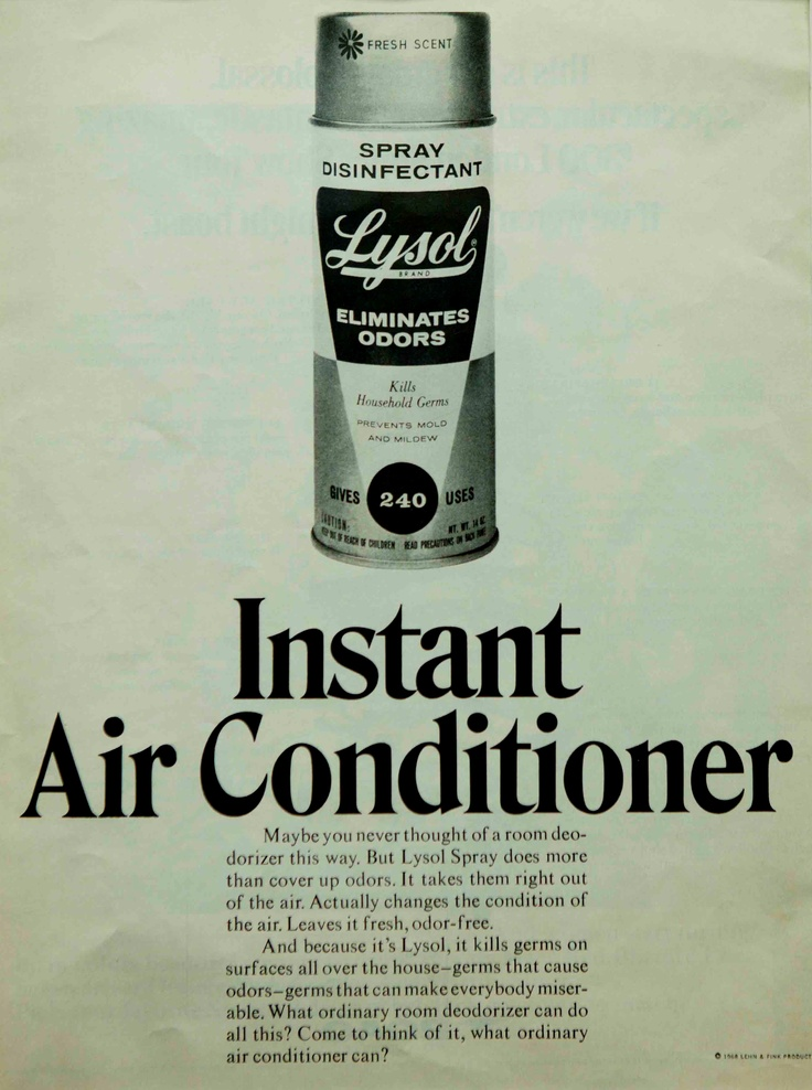 In the 1950s lysol disinfectant spray helped kill germs on surfaces