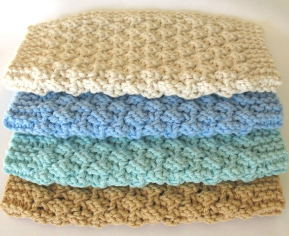 Knitted Cloth Patterns : Knit Dishcloth Cotton Knitted Dish Cloth Ocean Beach Earth Tone Seasi?