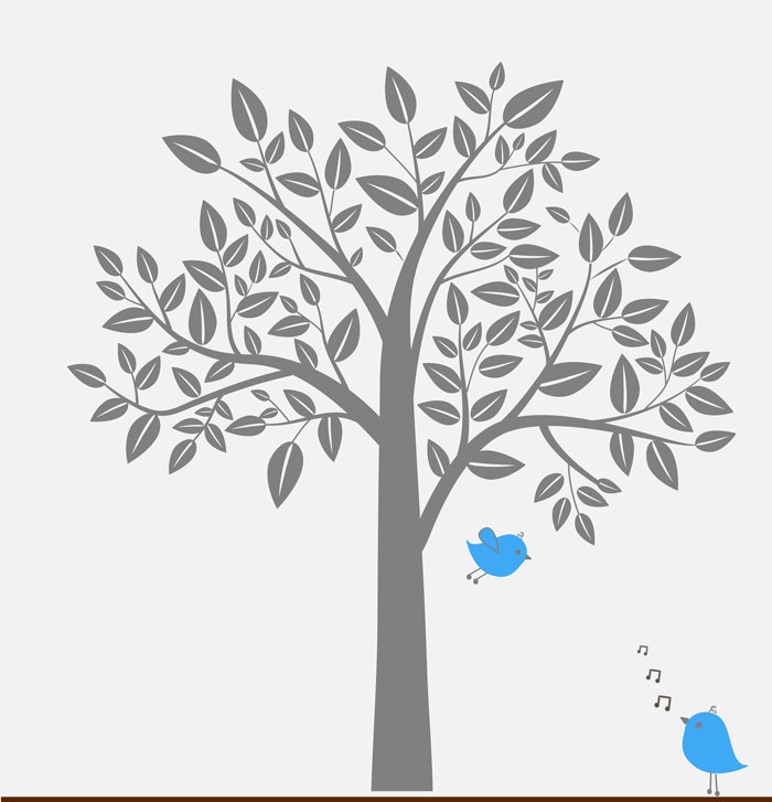 wall decal gray tree blue singing birds childrens wall On grey tree wall decal