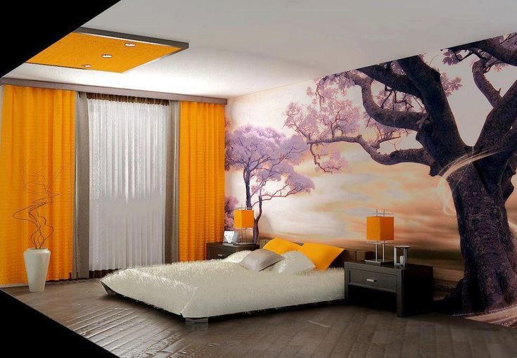 japanese bedroom design with orange color and nature inspired decor