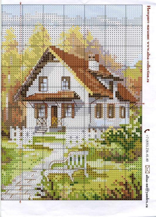 Английский домик схема вышивки 72