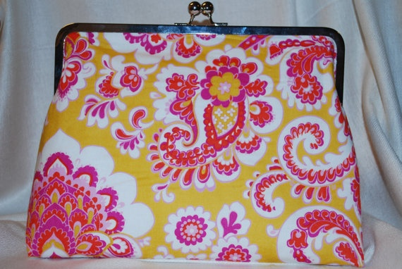 Mustard Yellow and Hot Pinks Paisley Print Clutch by mokoandco, $40.00
