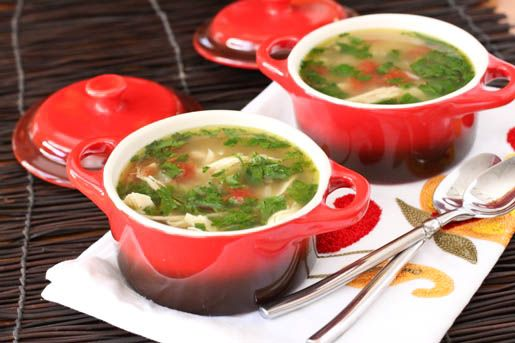 Green Chili Chicken and Lime Soup! Low fat and delicious!