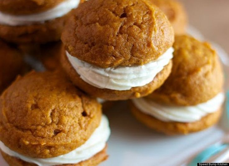 Mini Pumpkin Whoopie Pies With Maple Cream Cheese Filling - kind of ...