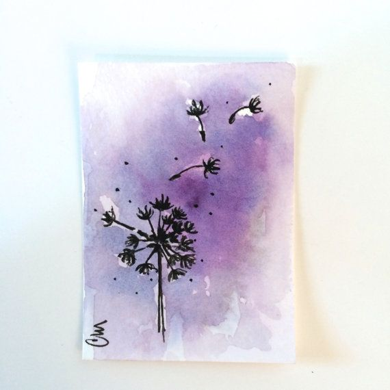 purple dandelion small watercolor painting