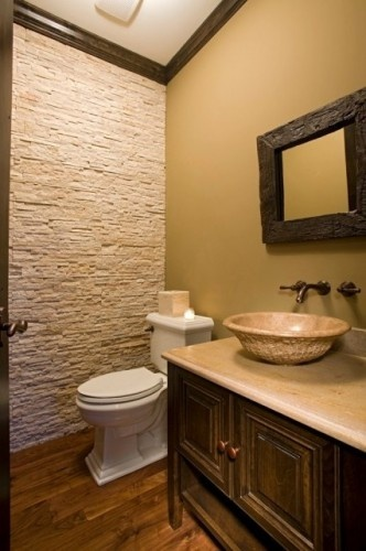 Stone accent wall for powder room for the home pinterest for Bathroom accent ideas