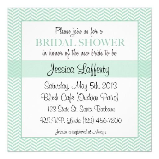 Bridal Shower Invitation- Mint Green