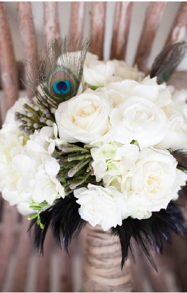 White Wedding Bouquets With Peacock Feathers : Pin by katie clark on future wedding ideas