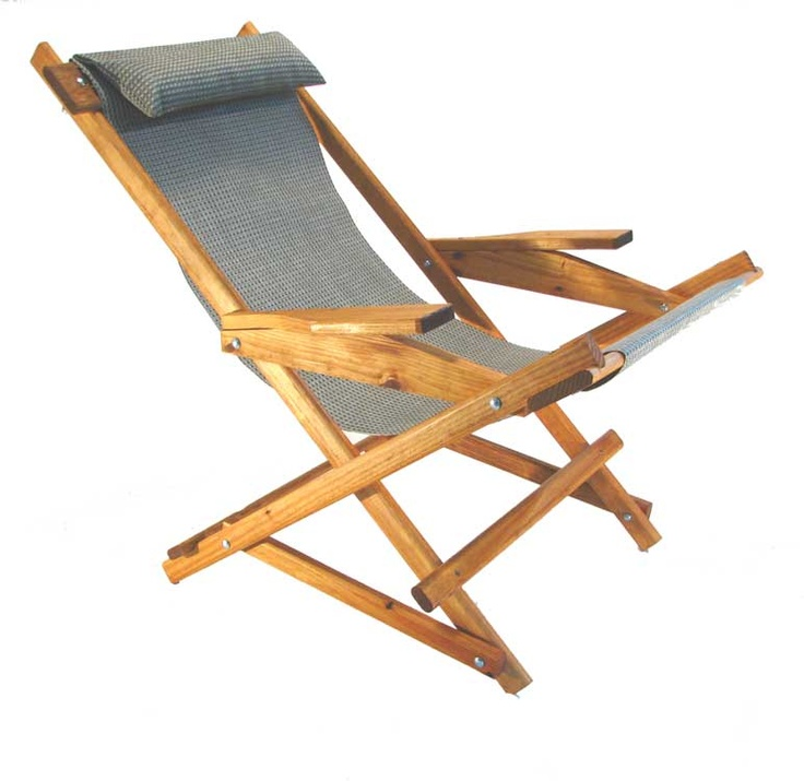 Wooden Folding Rocking Sling Chair pitched & staked