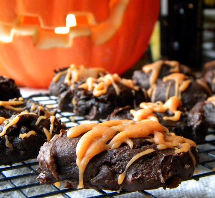 CHOCOLATE FUDGE PUMPKIN COOKIES with EASY PUMPKIN GLAZE