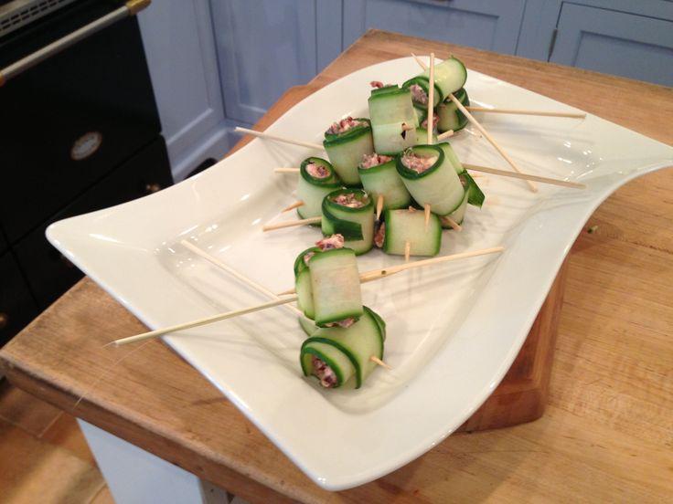Cucumber Feta Rolls | Delicious food | Pinterest