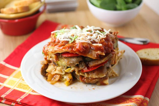 Roasted Vegetable Lasagna with Roasted Red Pepper Sauce. Use rice ...