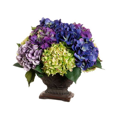 Lavender hydrangea silk flower arrangement floral home