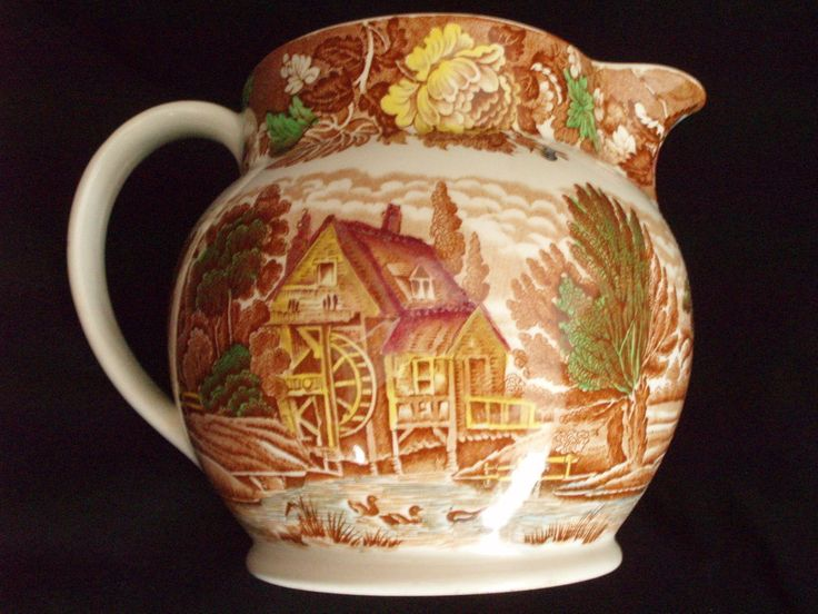 Enoch Woods pitcher English Scenery antique transferware