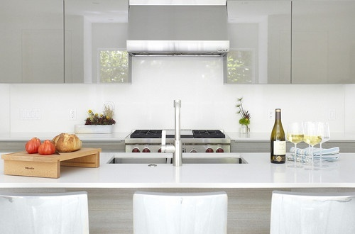 grey lacquer cabinets  Galley kitchens  Pinterest