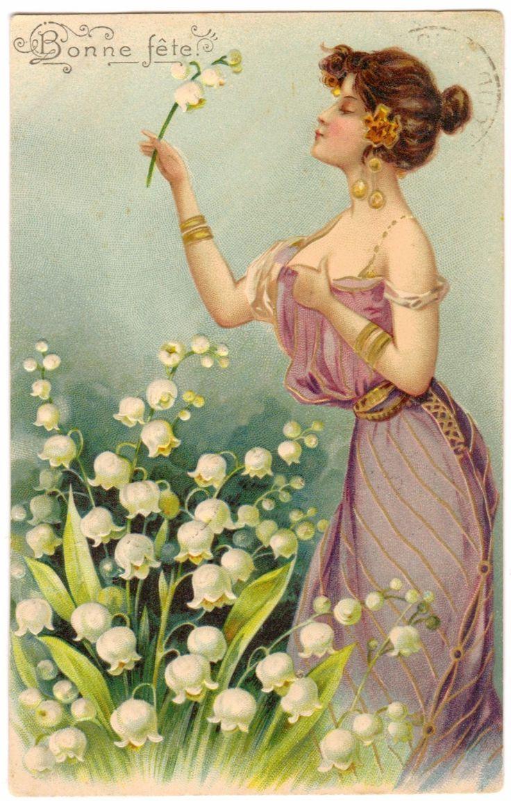 Открытка французского модерна 1904 Женщина с ландышами Muguet | eBay