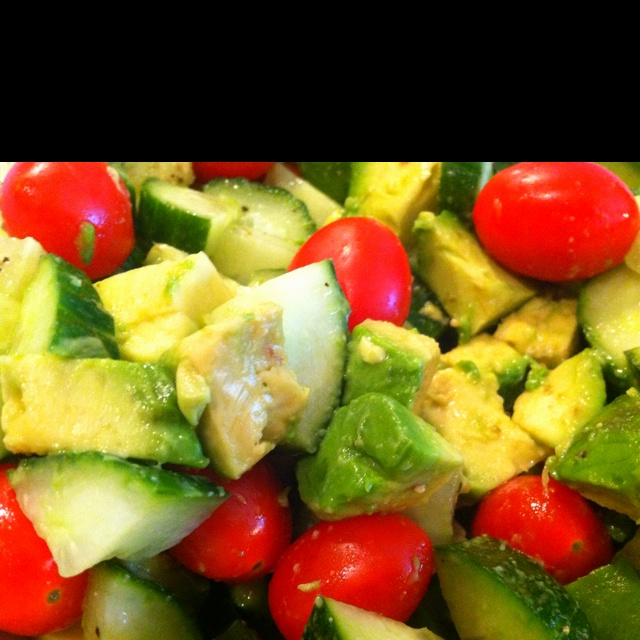 Avocado, Cucumber, and Cherry Tomatoes | Food and Drink | Pinterest