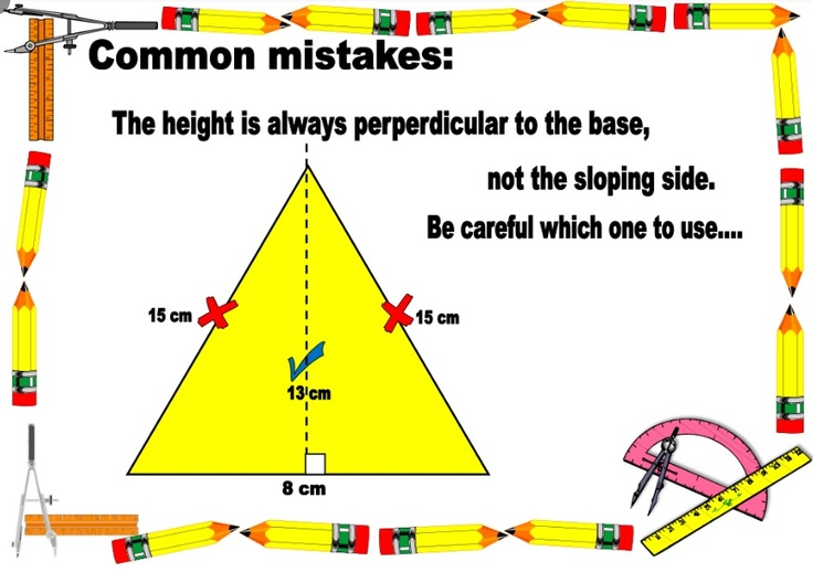 Poster about calculating the area of triangles and to help your students to remember to use the height, not the slope, and divide it by half.  Download the whole set for FREE at http://www.tes.co.uk/teaching-resource/Ks2-Area-of-Triangles-Poster-6322428/