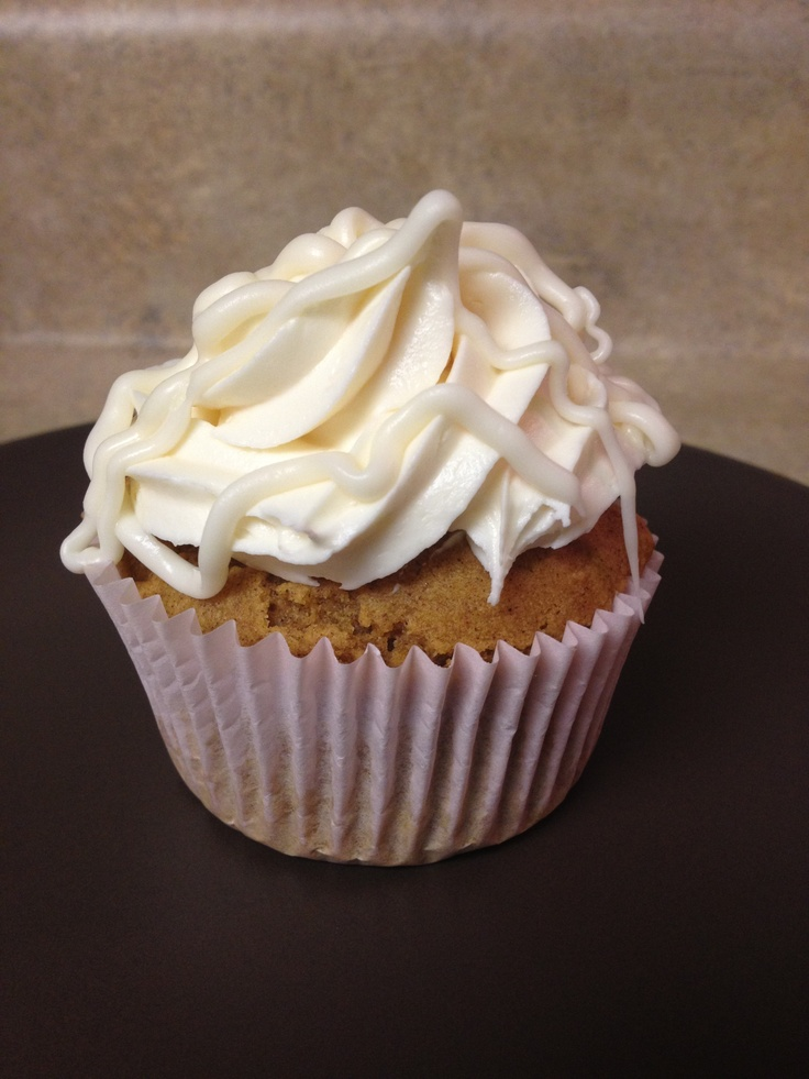 Gluten Free pumpkin cupcakes with cream cheese frosting, white ...