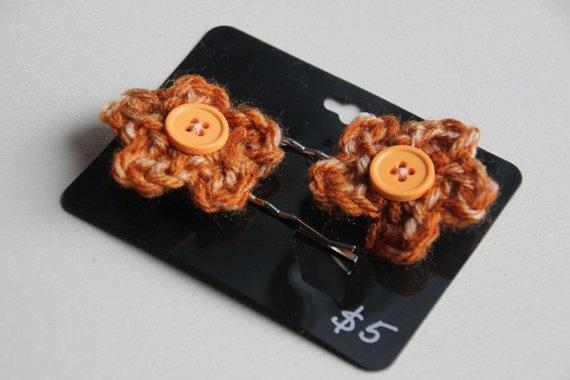 crochet hair pins... Crochet Pinterest