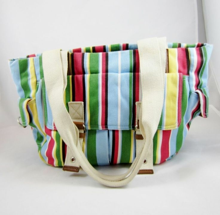 colorful striped large tote handbag