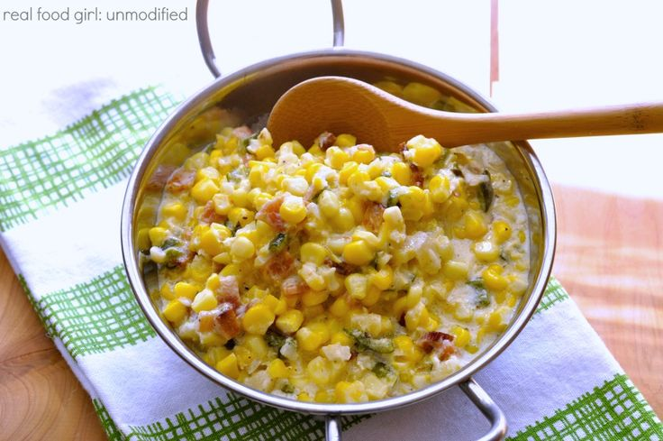 Real Food Girl | Creamed Corn with Bacon and Poblano Pepper | http ...