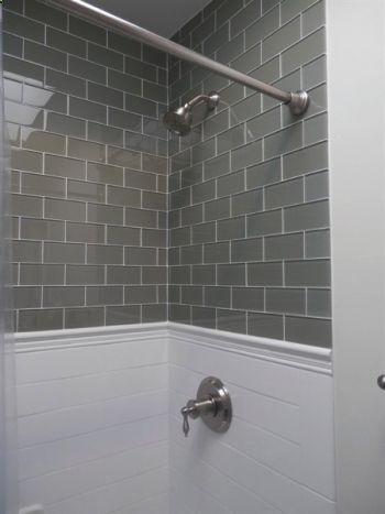 Gray glass subway tile kitchen dreams pinterest for Grey subway tile shower