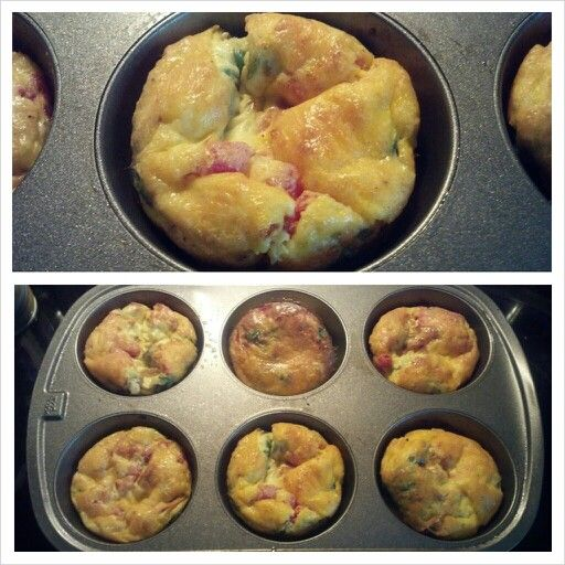 Healthy Egg Muffin 8-large eggs 1/2 cup- baby spinach cut up 1/2 cup ...