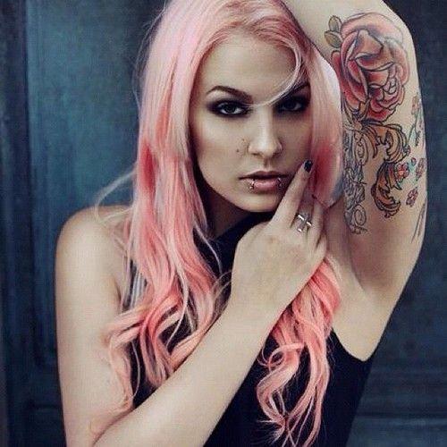 perfect pink hair, lip piercings, tattoo