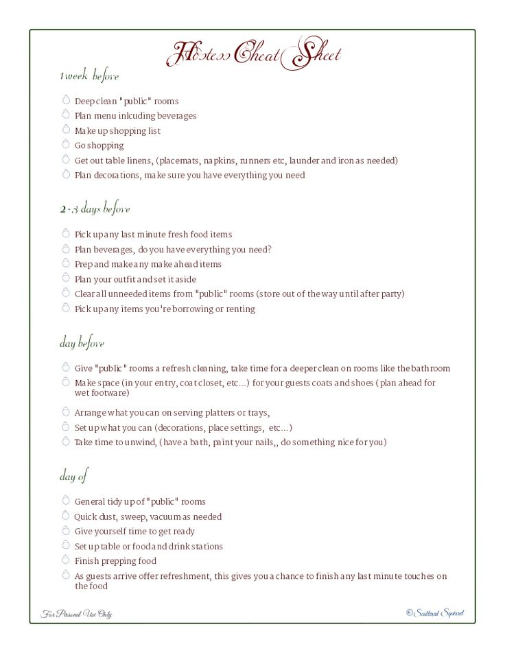 wedding planner: Wedding Hostess Checklist