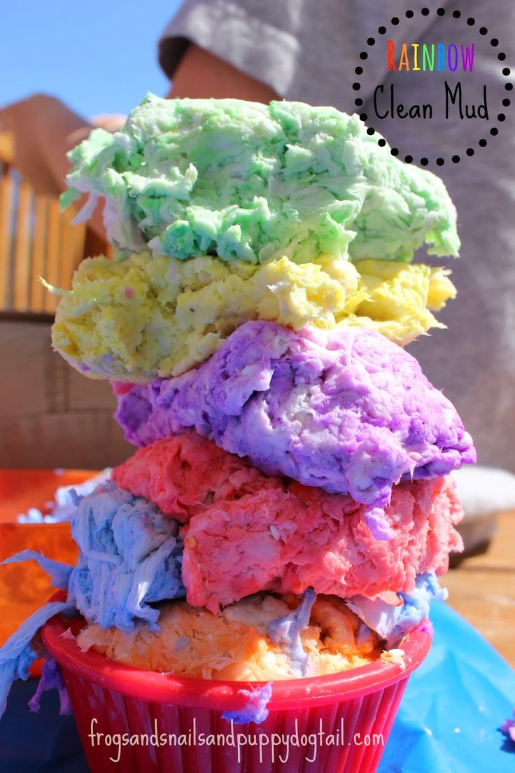 Rainbow Clean Mud for kids - what a perfect activity at a rainbow-themed party! #kidsparty