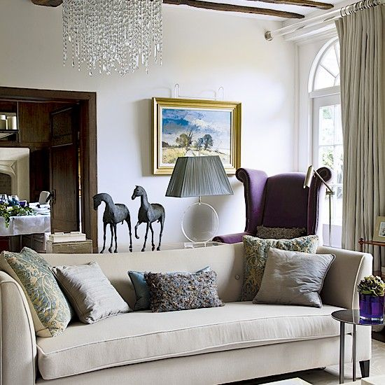 Cream and purple living room decorating pinterest for Purple and cream living room ideas