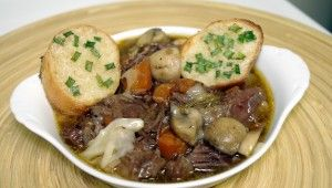 Short Rib Bourguignon Soup with Toasted Horseradish-Chive Baguettes