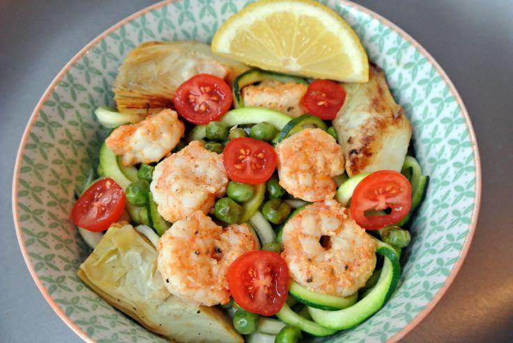 Lemony Shrimp & Artichoke Zucchini Pasta | pasta recipes | Pinterest