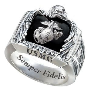 Sterling Silver USMC Ring: USMC Gift For Marines - size 8.5 --- if i had a marine Boyfriend!!
