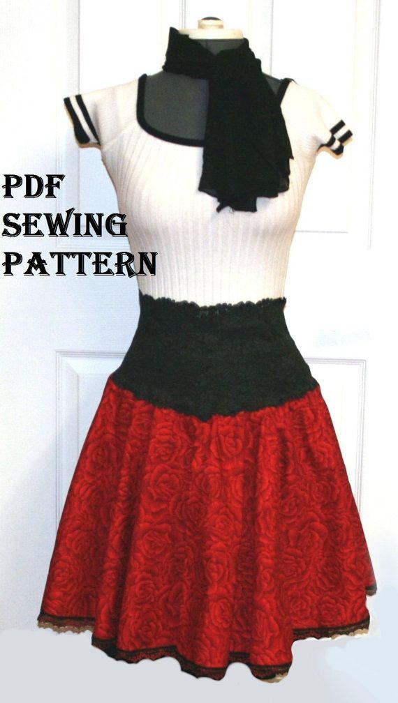 womens sewing pattern circle skirt printable pattern