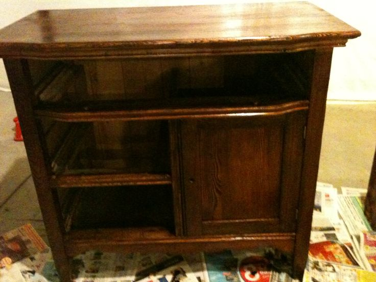 The first coat of stain. | Refinished Furniture | Pinterest