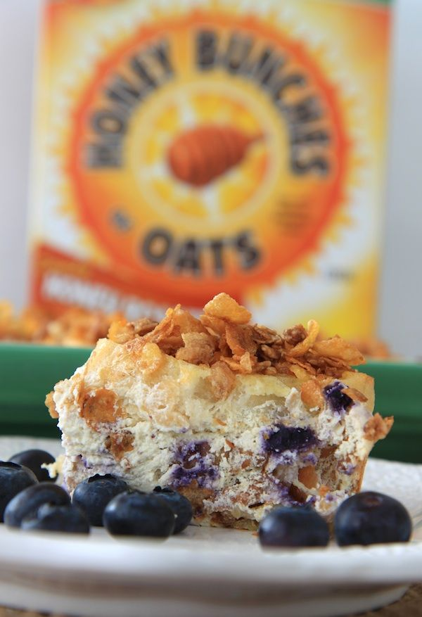 Blueberry-orange cream cheese stuffed french toast casserole with cru ...
