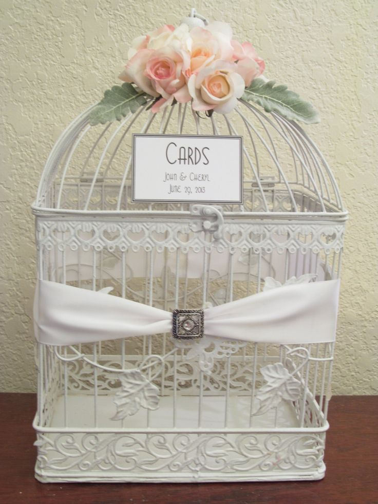 Birdcage wedding card box holder rhinestone brooch for Cage d oiseau decorative
