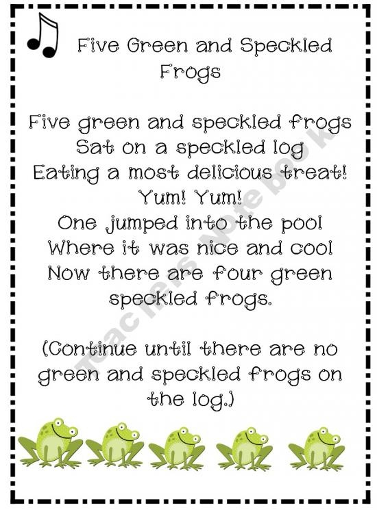 five green and speckled frogs song video