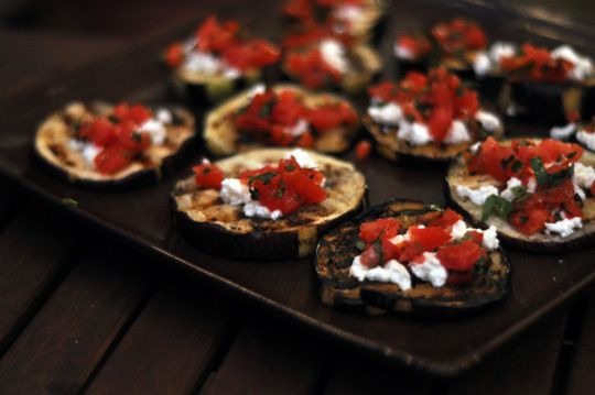 grilled eggplant, goat cheese tomato