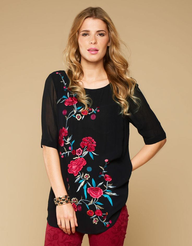 Monsoon - Alexis Embroidered Top - Black