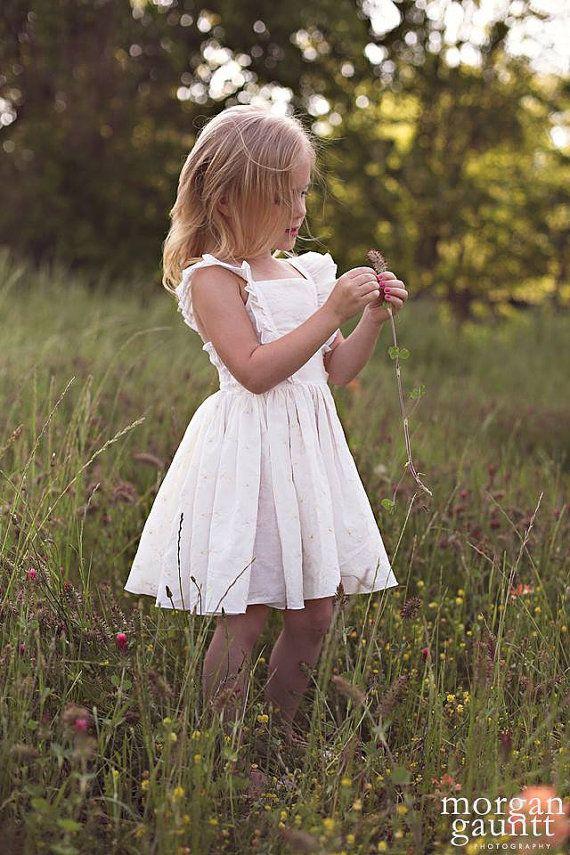 Vintage delphinia custom rustic wedding flower girl by for Country wedding flower girl dresses