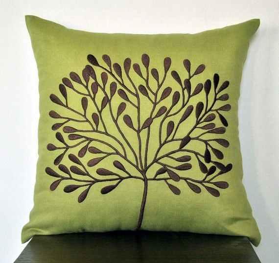 Brown Throw Pillows Etsy : Green Pillow Cover, Decorative Throw Pillow Cover 18 x 18, Dark Brown?