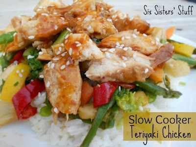 Slow Cooker Teriyaki Chicken and Stir-Fry Veggies. Only 4 ingredients- one of my go-to crock pot recipes that the whole family loves! SixSistersStuff.com #slowcooker #chicken