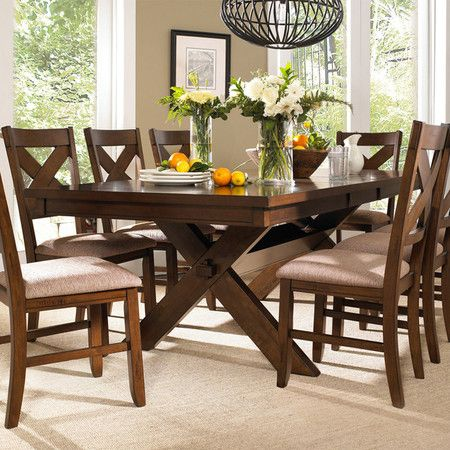 Sawhorse Style Dining Table With Eight Matching Side Chairs Product