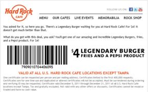 Hard Rock Cafe Coupon Codes, Promos & Sales. Want the best Hard Rock Cafe coupon codes and sales as soon as they're released? Then follow this link to the homepage to check for the latest deals.