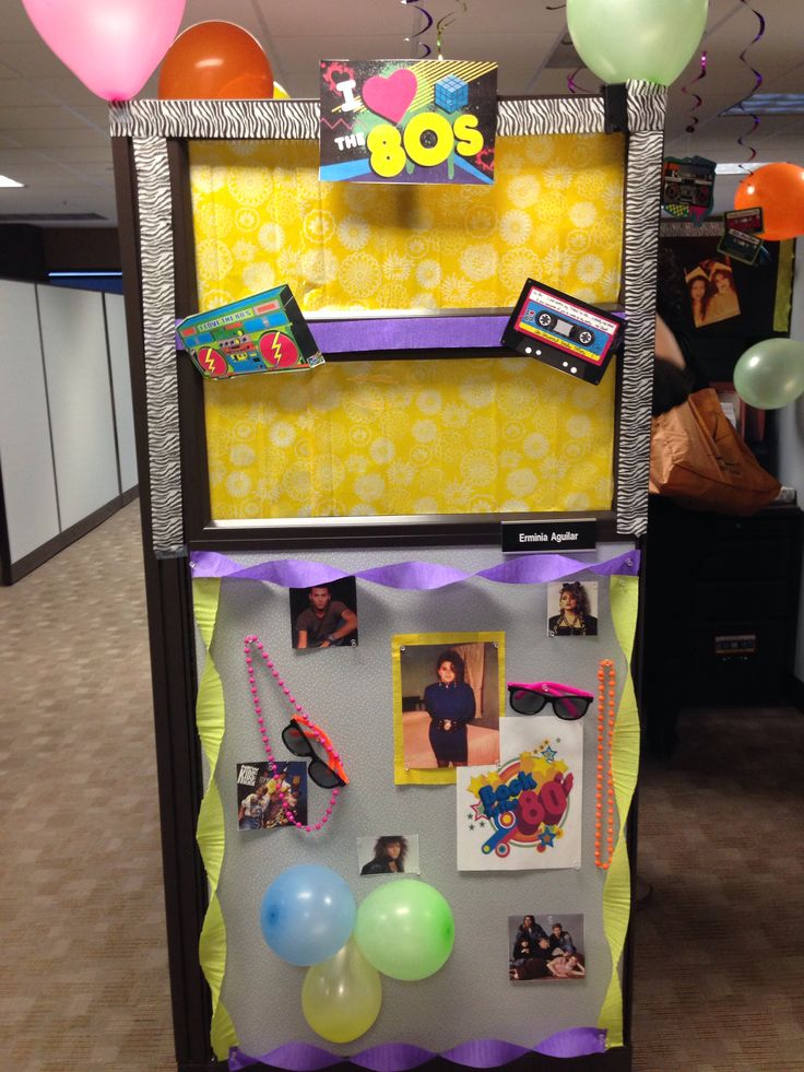 80 39 s theme cubicle decorations my own dyi and my stuff for 80s theme decoration ideas